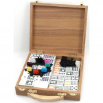 Domino Double 12 Mexican-Train Case Wood
